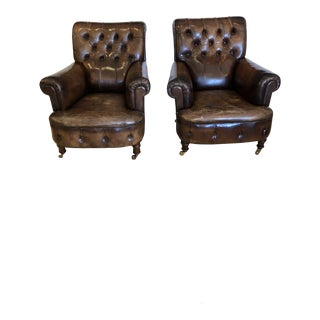 19th Century Tobacco Leather Tufted Club Chairs -A Pair For Sale