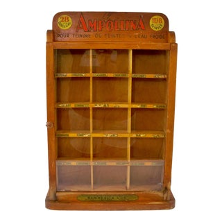 Antique Dye Store Display Cabinet With Cubbies For Sale