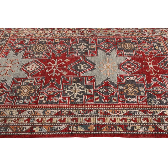 Rug & Kilim Rug & Kilim's Classic Style Rug in Red and Blue Geometric Pattern For Sale - Image 4 of 5