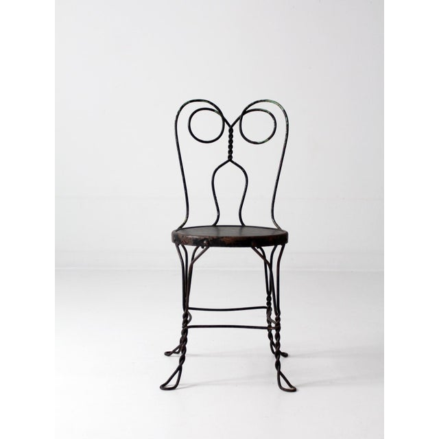 Vintage Black Ice Cream Parlor Chair - Image 3 of 9 - Vintage Black Ice Cream Parlor Chair Chairish