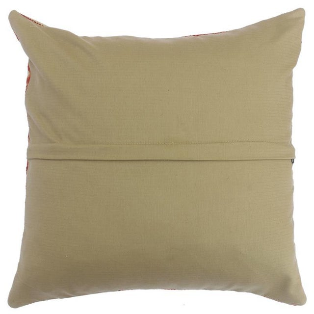 """2010s Christop Gold/Lt. Blue Hand-Woven Kilim Throw Pillow(18""""x18"""") For Sale - Image 5 of 6"""
