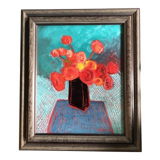 Original Contemporary Alexandra Brown Pop Art Abstract Still Life Oil Painting Vintage Frame For Sale