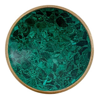 "Malachite and Brass Rimmed Dish 7"" Diameter For Sale"