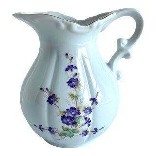 Vintage Hand-Painted Lefton Violets Milk Cream Pitcher Jug For Sale