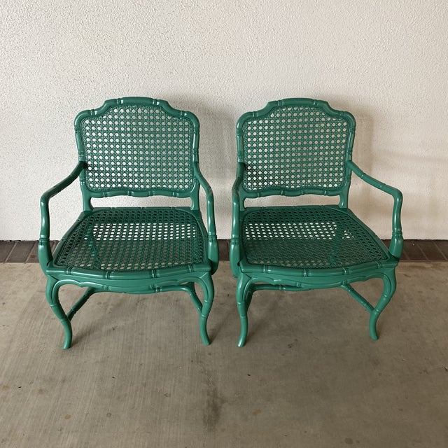 Vintage Green Lacquered Chairs - a Pair For Sale - Image 9 of 11