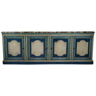 Hollywood Regency Server Credenza With Faux Marble Top For Sale