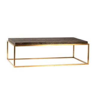 Indy Wood & Brass Coffee Table For Sale