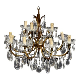 Italian Gilt Metal and Crystal 12-Light Chandelier For Sale