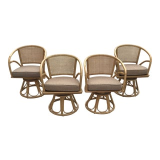 1970s Vintage Ficks Reed Rattan and Cane Swivel Chairs- Set of 4 For Sale