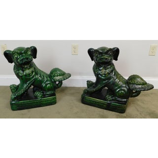 Vintage Dark Green Chinese Glazed Pottery Pair Foo Dogs Statues Preview