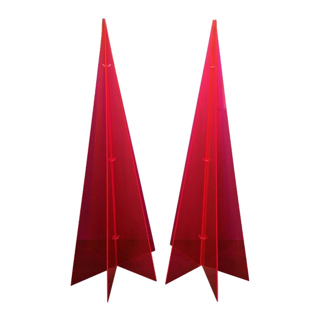 1970s Pink Lucite Tree Form Sculptures - a Pair - Image 1 of 8