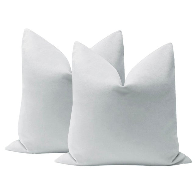 "2010s 22"" Dove Grey Velvet Pillows - a Pair For Sale - Image 5 of 5"