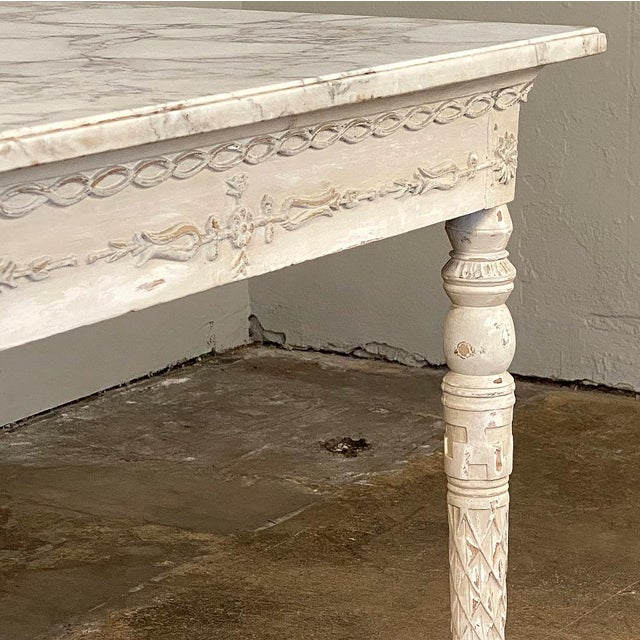 Wood Center/End Table, 18th Century Swedish Painted With Marble Top For Sale - Image 7 of 12