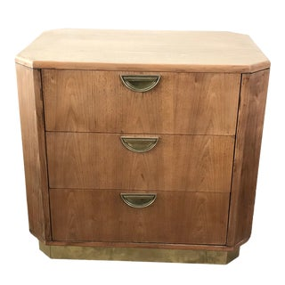 1960s Campaign Style Oak Nightstand For Sale