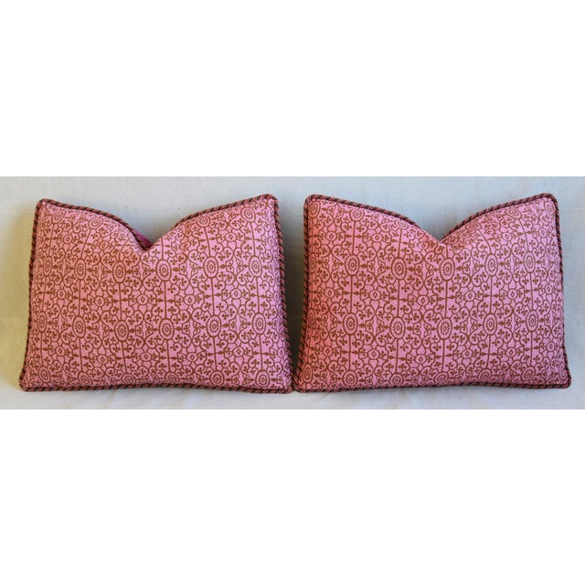 """Designer Raoul Hand-Printed Linen & Velvet Feather/Down Pillows 23"""" X 17"""" - Pair For Sale In Los Angeles - Image 6 of 13"""