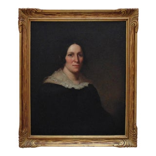 19th C. Portrait Painting of a Woman Lady American School Antique Oil on Canvas For Sale