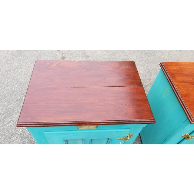 1990s French Country White Clad Turquoise Nightstands - a Pair For Sale In Los Angeles - Image 6 of 12