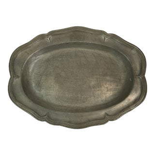 Vintage French Scalloped Pewter Platter For Sale