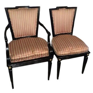 Set of Six Hollywood Regency Style Dining Chairs in the Manner of Maison Jansen For Sale