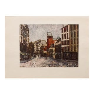 "1950s Maurice Utrillo, First Edition Period Lithograph ""Rue Des Abbesses"" For Sale"
