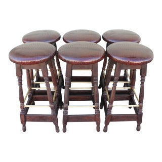 Set of Six Mid-Century Bar Stools Upholstered in Faux Alligator Leather For Sale