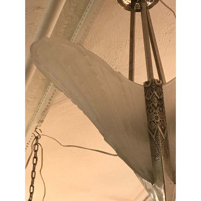 Early 20th Century French Art Deco Geometric Chandelier by E.J.G For Sale - Image 5 of 11