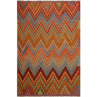 Elise Purple/Blue Hand-Woven Kilim Wool Rug -6'0 X 7'7 For Sale