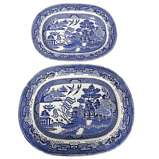 Set of 2 Antique Blue Willow Platters For Sale