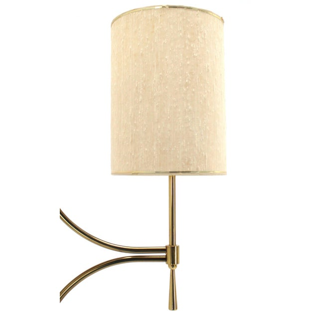 Mid-Century Modern Walnut, Brass, and Marble Floor Lamp with Marble Side Table For Sale In New York - Image 6 of 10