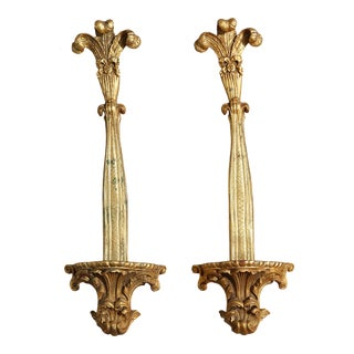 Vintage Gold Leaf Hollywood Regency Drop Wall Sconces / Shelves - a Pair - Amazing!! For Sale