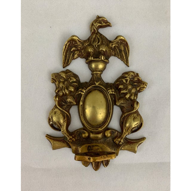 Brass Antique Coat of Arms Brass Hand-Turn Door Bell For Sale - Image 8 of 8