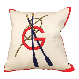1970's Gucci Linen Nautical Rowing Pillow