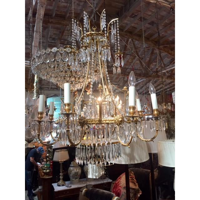 Hollywood Regency 1950s Vintage Neo-Classic Brass Dore Chandalier For Sale - Image 3 of 13