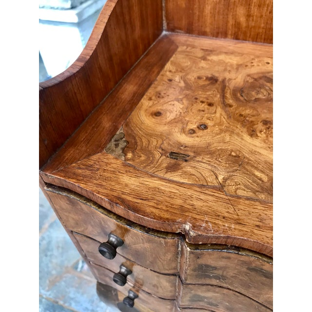 Italian Louis XV Style Three Drawer Burl Wood Nightstand / Cabinet For Sale - Image 4 of 13