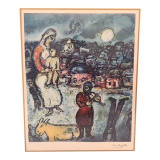 Marc Chagall Russian Fiddler on the Roof Signed Lithograph For Sale