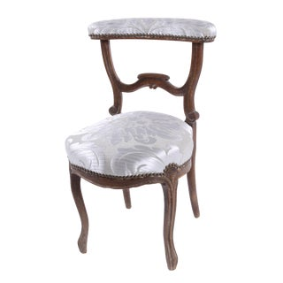 19th Century French Damask Prie-dieu Chair