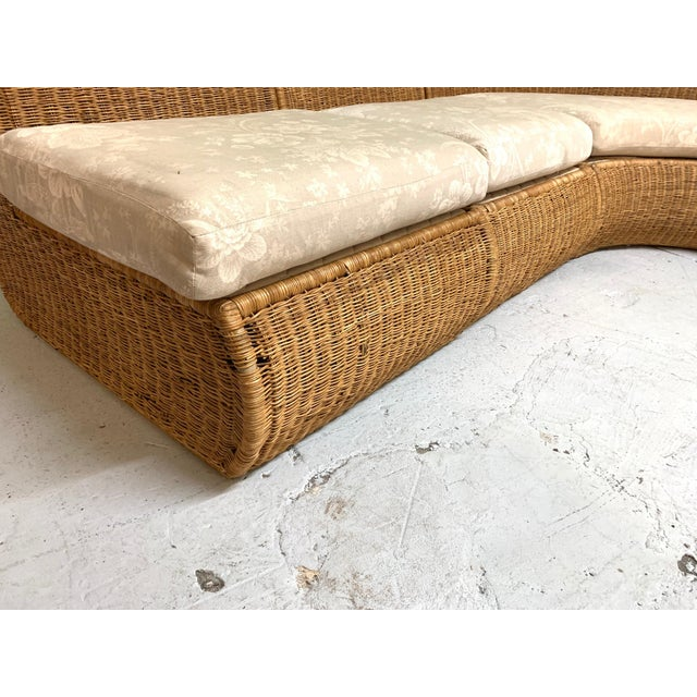 1970s Large Sculptural Wicker Sectional Sofa For Sale - Image 5 of 13