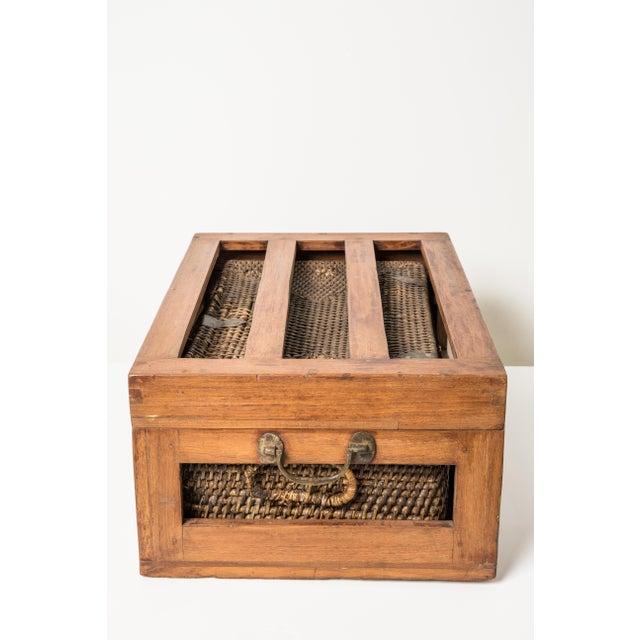 Antique Rattan & Teak Picnic Basket - Image 3 of 7