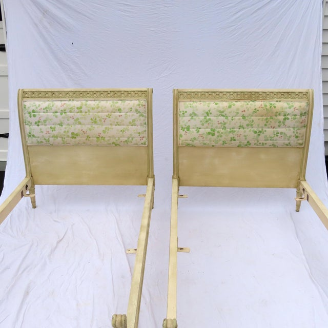 Wonderful pair of vintage twin beds coming directly from a wealthy local estate. Date to early 20th century. Upholstery...