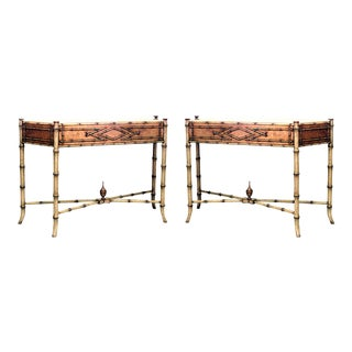 20th Century Boho Chic Faux Bamboo Consoles - a Pair For Sale