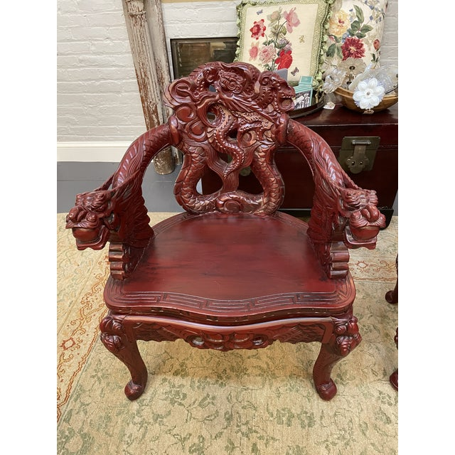 1960s 1960s Vintage Red Carved Wood Chinese Dragon Chairs - a Pair For Sale - Image 5 of 9