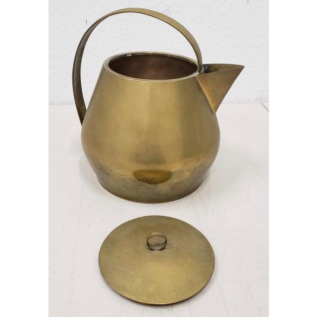 Art Deco Hayno Focken (Germany, 1905-1968) Brass Teapot W/ Lid C.1930 For Sale - Image 3 of 6