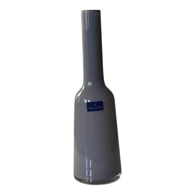Villeroy & Boch Light Gray Blown Glass Vase For Sale