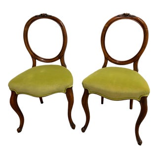 1870s American Victorian Balloon Back Chair- a Pair For Sale