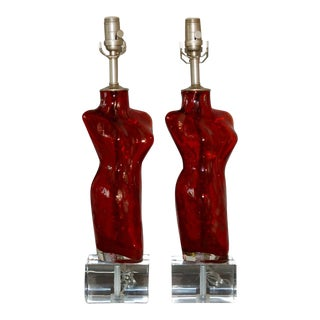 Venus Blown Glass Lamps in Red For Sale