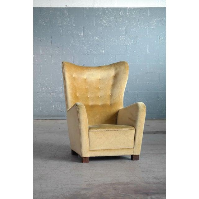 Danish Modern Fritz Hansen Model 1672 Highback Mohair Lounge Chair Danish Midcentury 1940's For Sale - Image 3 of 14