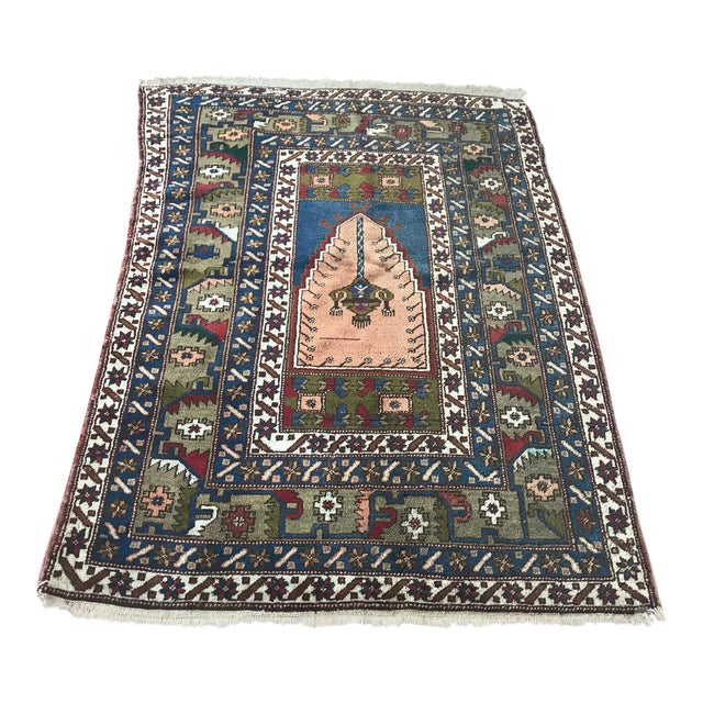Antique Yahyali Pastel Tribal Rug For Sale