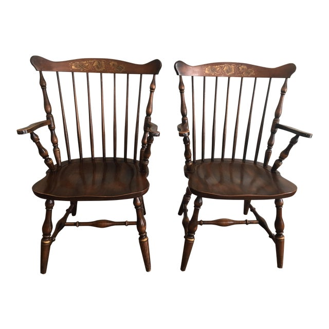 L. Hitchcock Fan Back Windsor Style Maple Harvest Stenciled Armchairs - A Pair For Sale