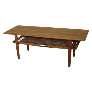 Danish Teak and Cane Coffee Table For Sale
