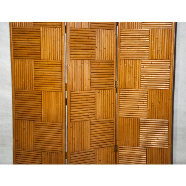 Circa 1950 Vintage Japanese Rattan 3 Panel Folding Screen For Sale In Richmond - Image 6 of 8